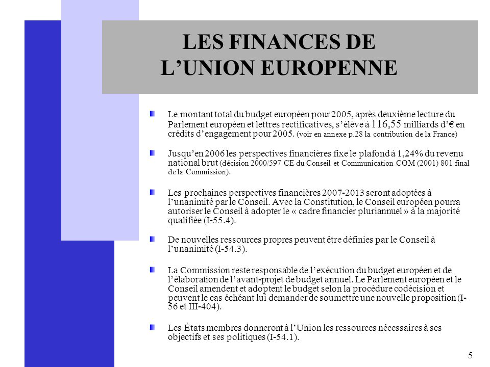 LES FINANCES DE L'UNION EUROPENNE