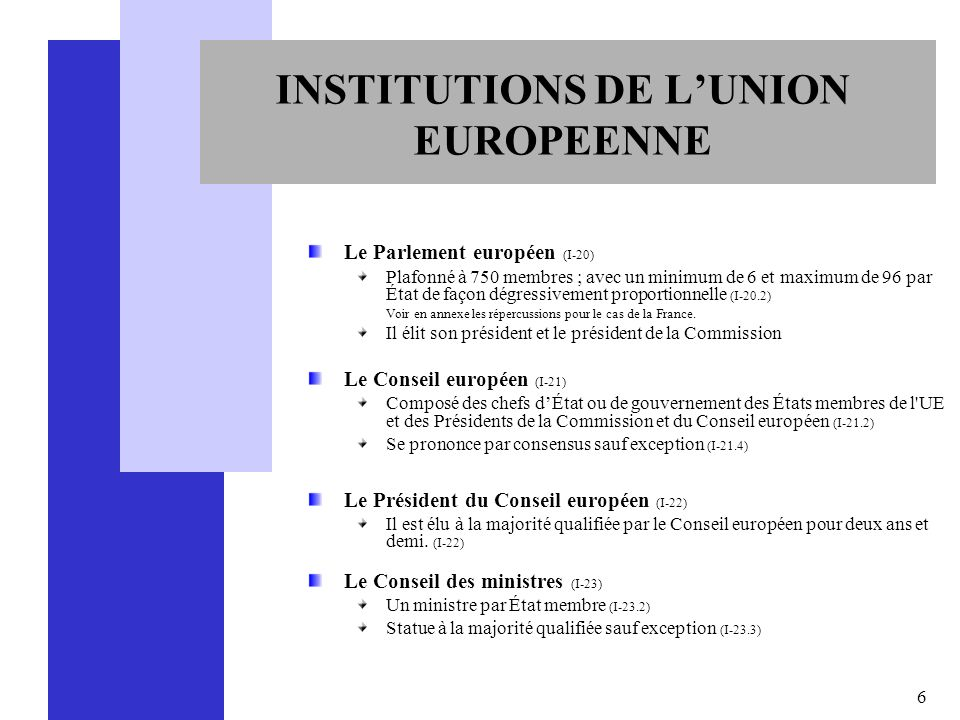 INSTITUTIONS DE L'UNION EUROPEENNE
