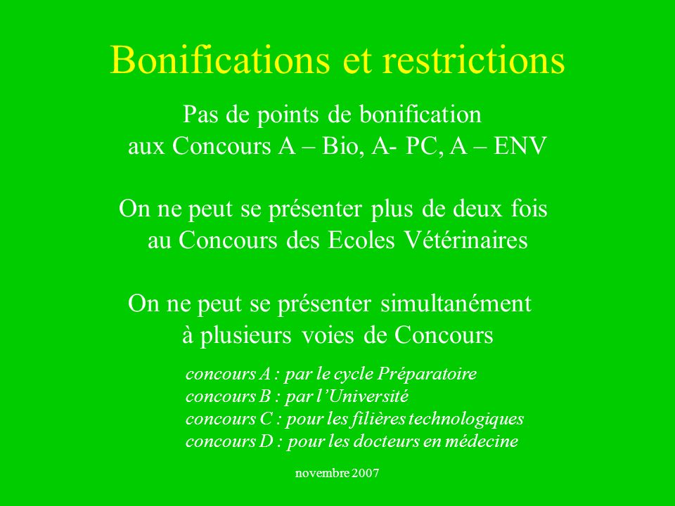 Bonifications et restrictions