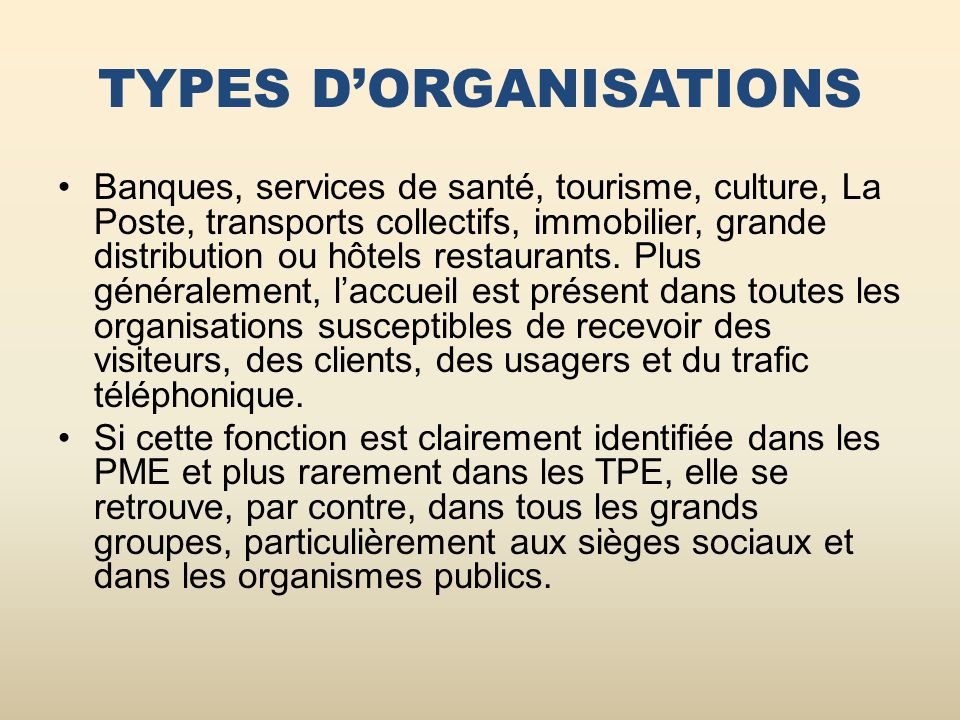 TYPES D'ORGANISATIONS
