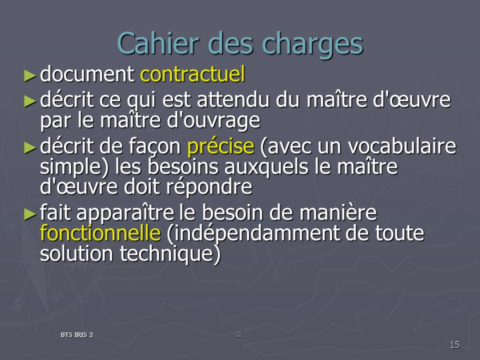 Cahier des charges document contractuel