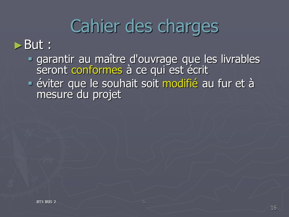 Cahier des charges But :