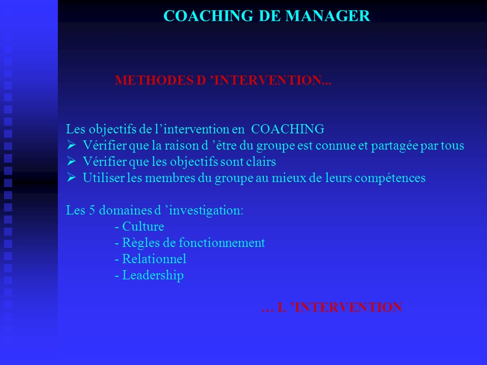 COACHING DE MANAGER. METHODES D 'INTERVENTION
