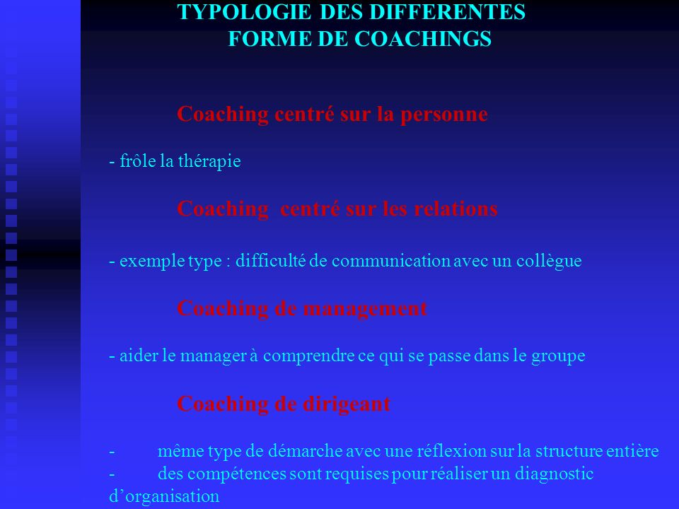 TYPOLOGIE DES DIFFERENTES. FORME DE COACHINGS