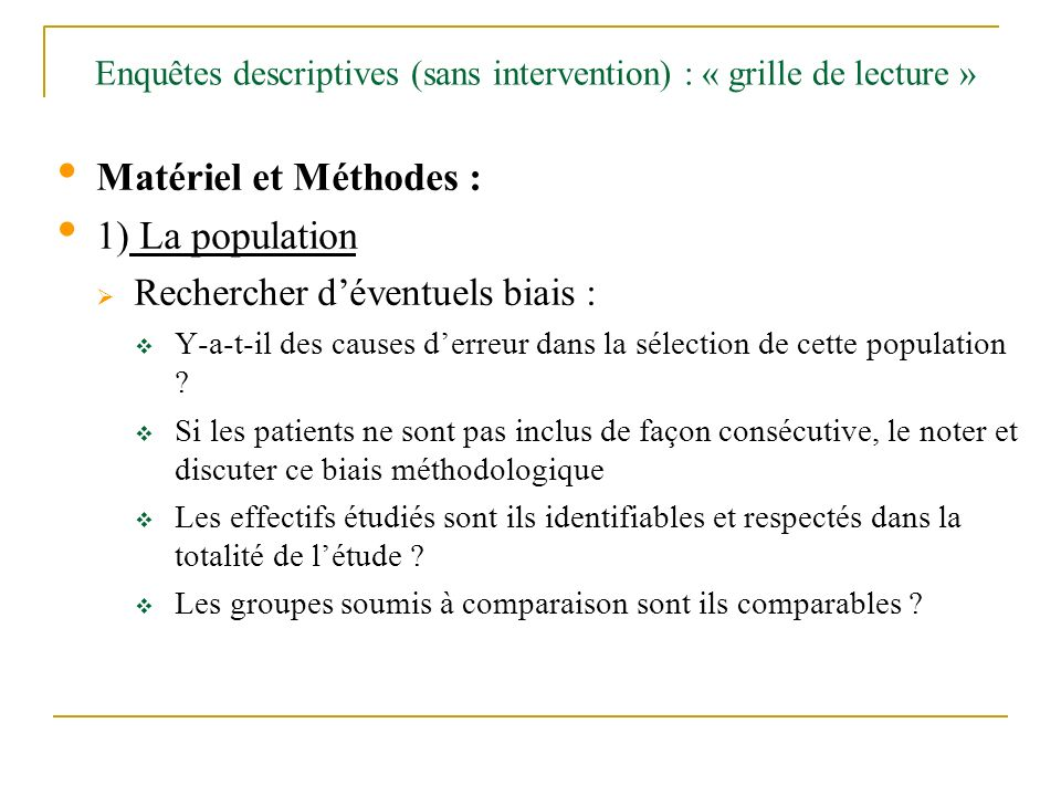 Enquêtes descriptives (sans intervention) : « grille de lecture »