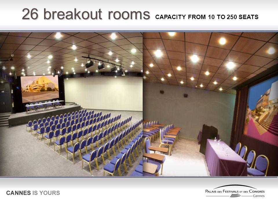 26 breakout rooms CAPACITY FROM 10 TO 250 SEATS