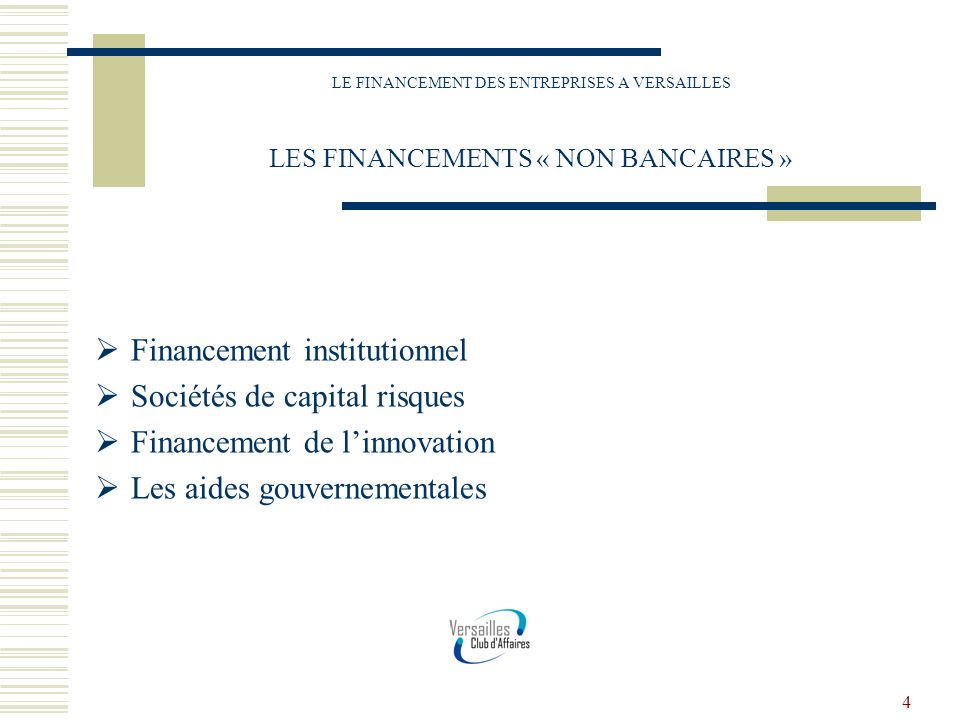 Financement institutionnel Sociétés de capital risques