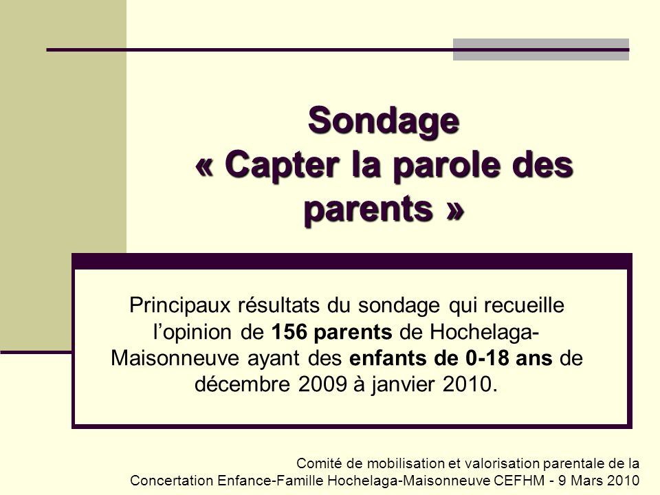 Sondage « Capter la parole des parents »