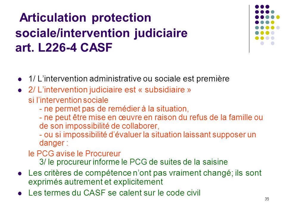 Articulation protection sociale/intervention judiciaire art