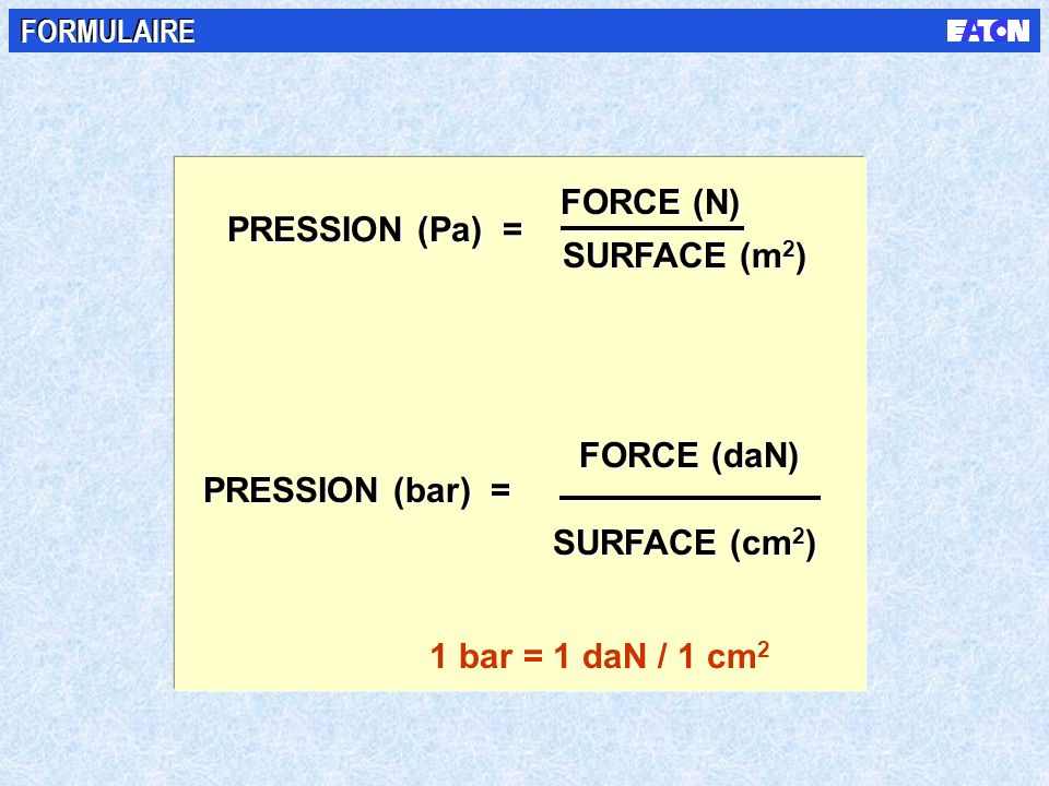 FORCE (N) PRESSION (Pa) = SURFACE (m2) FORCE (daN) PRESSION (bar) =