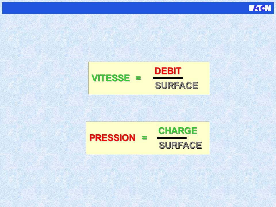 DEBIT VITESSE = SURFACE CHARGE PRESSION = SURFACE