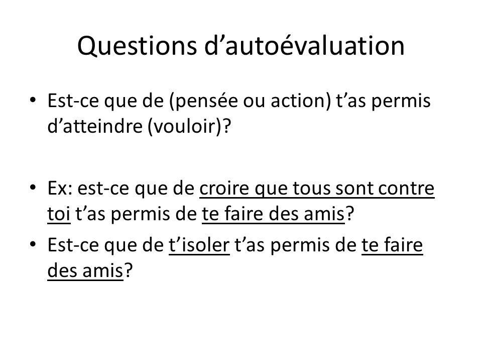 Questions d'autoévaluation