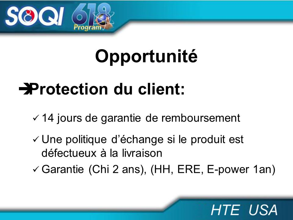 Opportunité Protection du client: