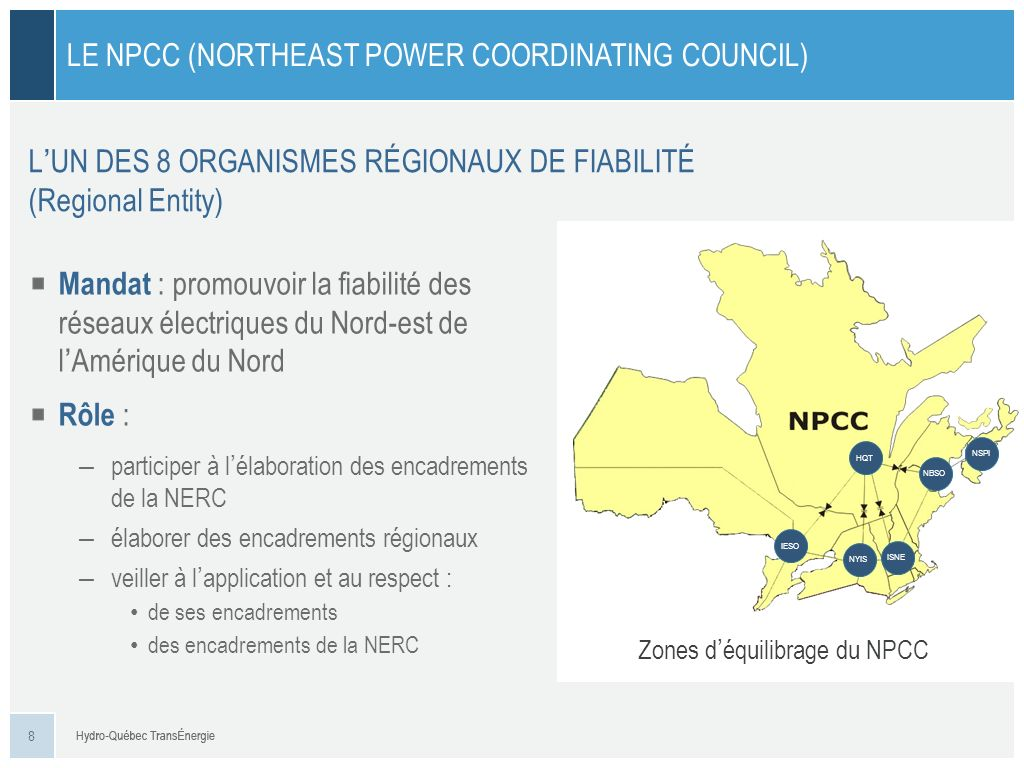 Le NPCC (Northeast Power Coordinating Council)