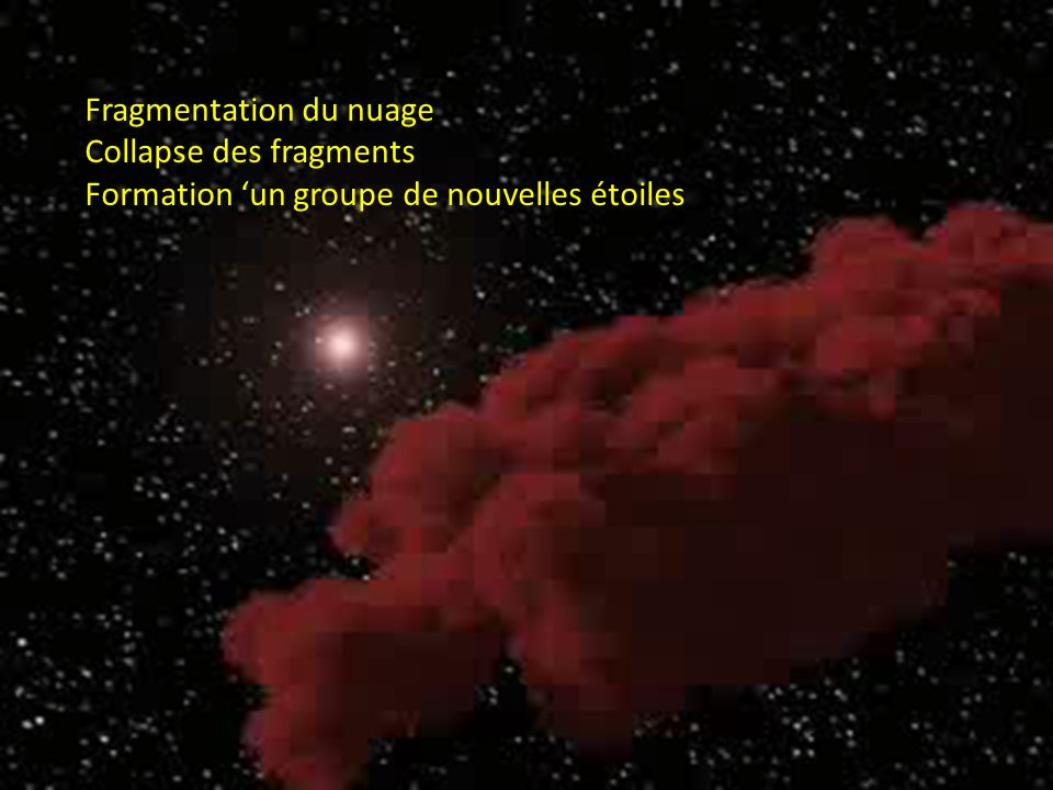 Fragmentation du nuage Collapse des fragments