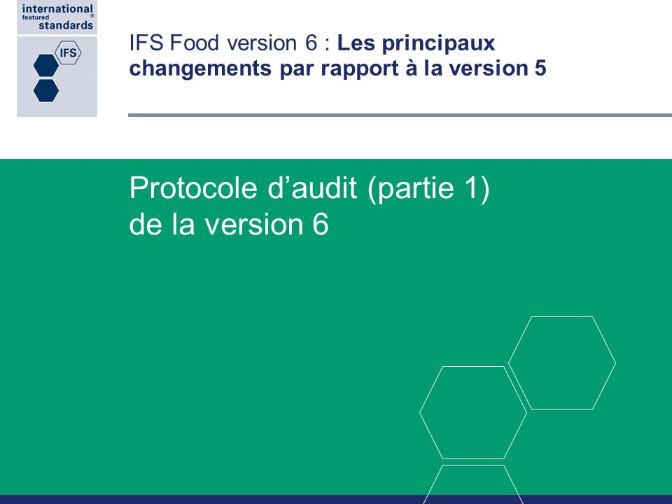 Protocole d'audit (partie 1) de la version 6