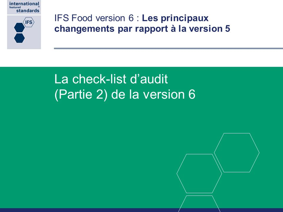 La check-list d'audit (Partie 2) de la version 6