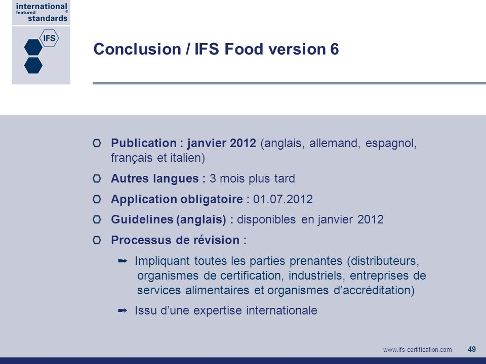 Conclusion / IFS Food version 6