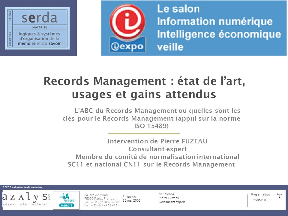Records Management : état de l'art, usages et gains attendus