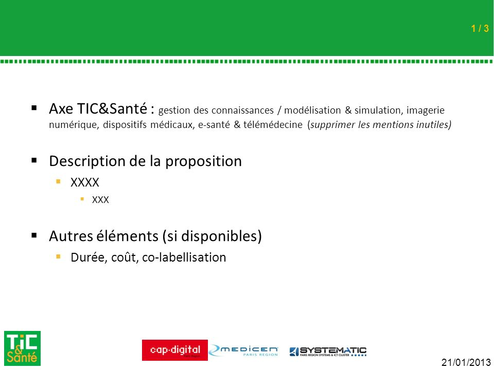 Description de la proposition