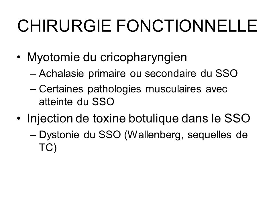 CHIRURGIE FONCTIONNELLE