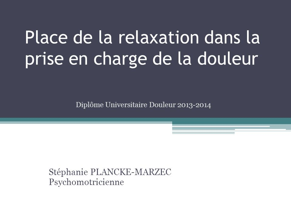 relaxation douleur