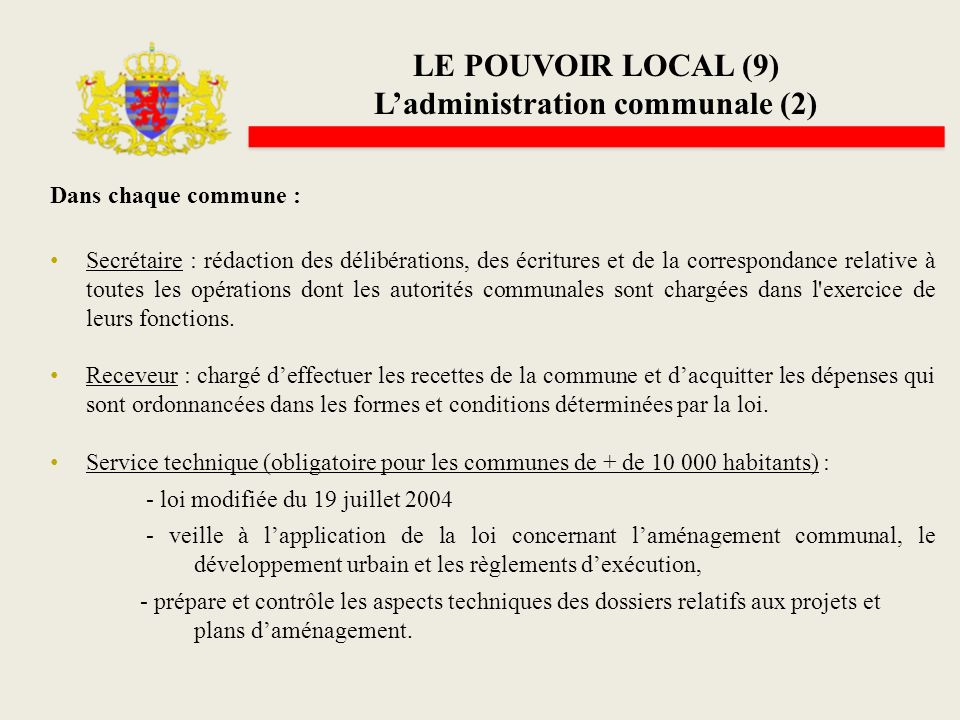 L'administration communale (2)