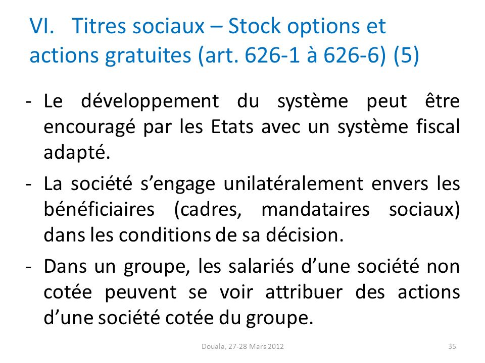 Stock options actions gratuites