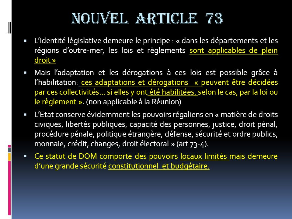 NOUVEL ARTICLE 73
