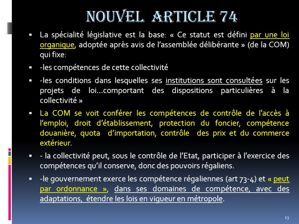NOUVEL ARTICLE 74