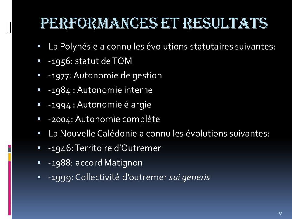PERFORMANCES ET RESULTATS