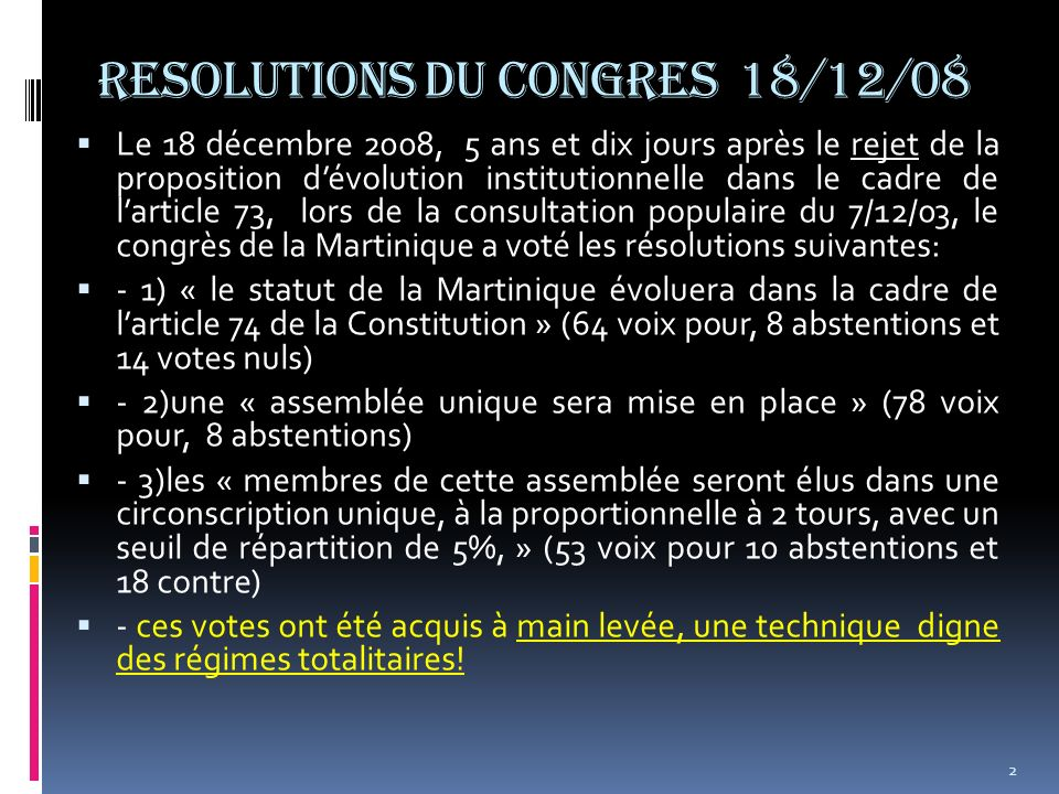 RESOLUTIONS DU CONGRES 18/12/08