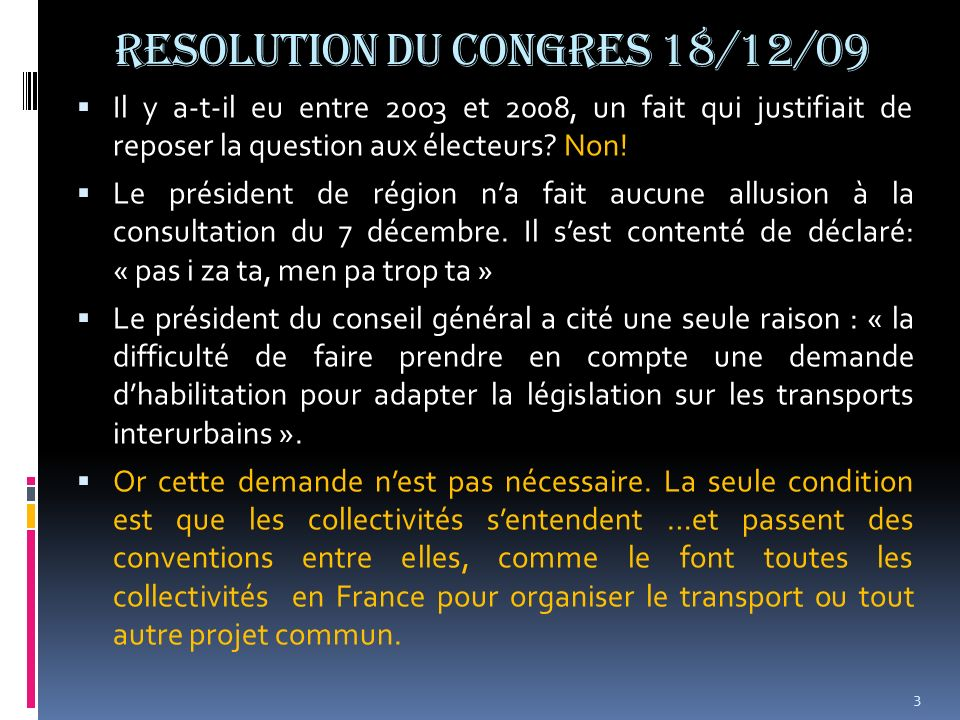 RESOLUTION DU CONGRES 18/12/09