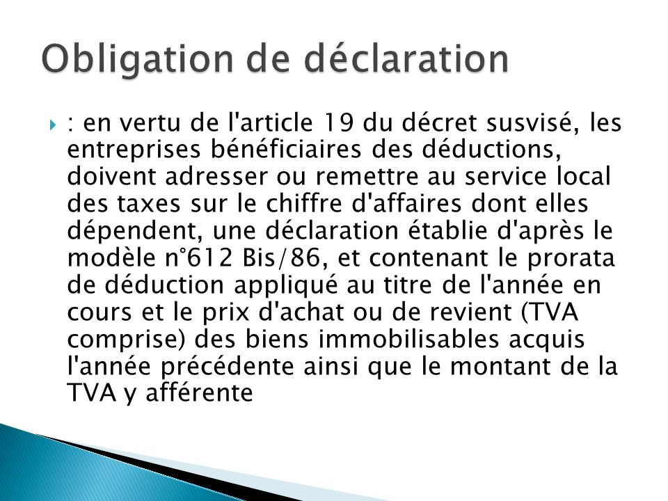 Le Calcul Du Prorata De Deduction De La Tva Ppt Video Online
