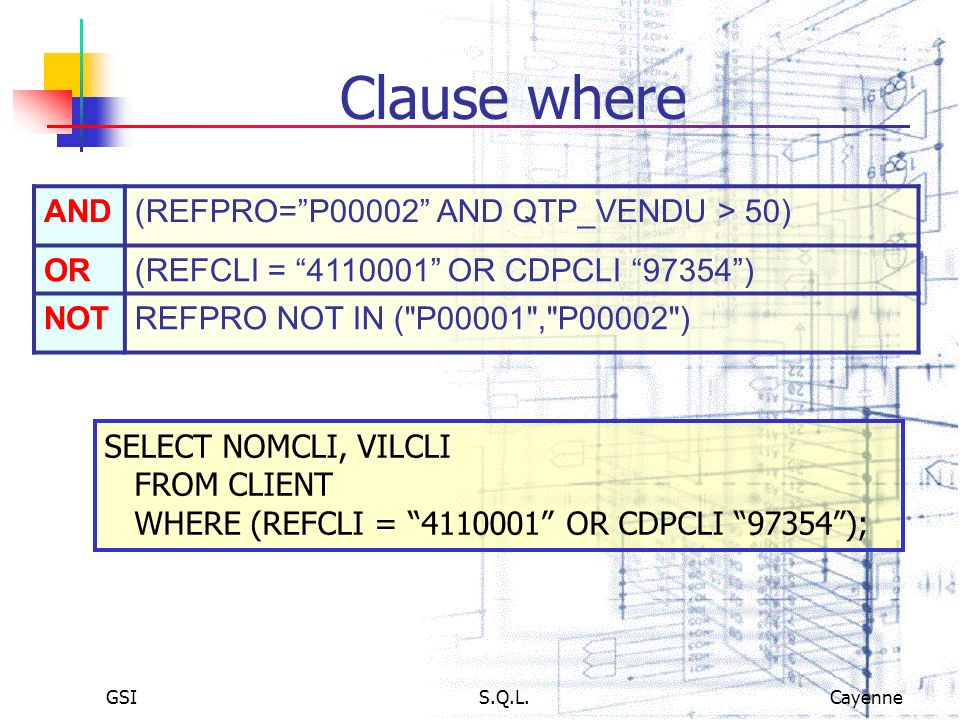 Clause where AND (REFPRO= P00002 AND QTP_VENDU > 50) OR