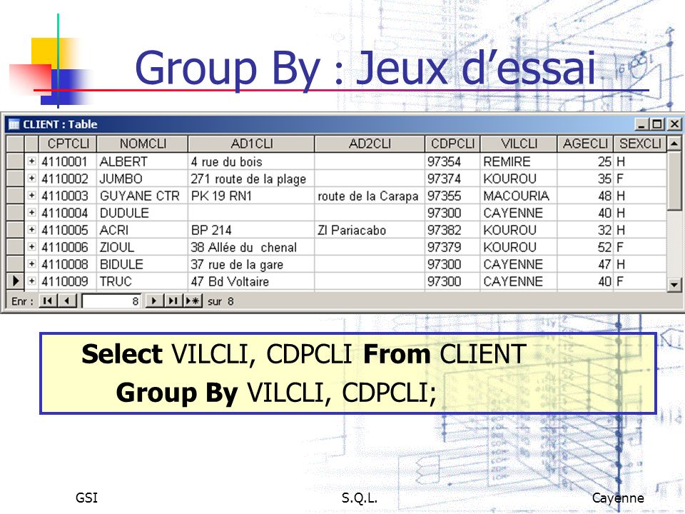 Group By : Jeux d'essai Select VILCLI, CDPCLI From CLIENT