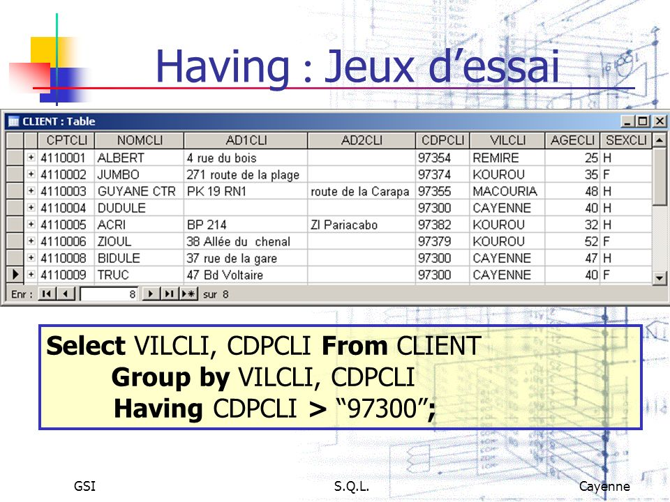 Having : Jeux d'essai Select VILCLI, CDPCLI From CLIENT