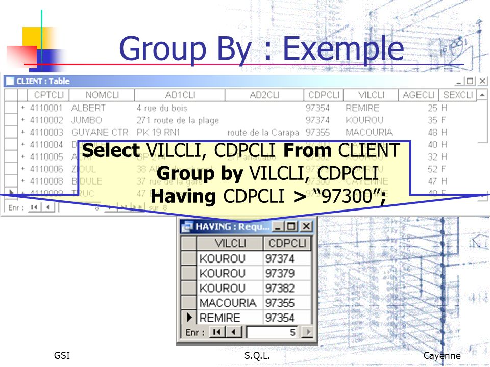 Select VILCLI, CDPCLI From CLIENT