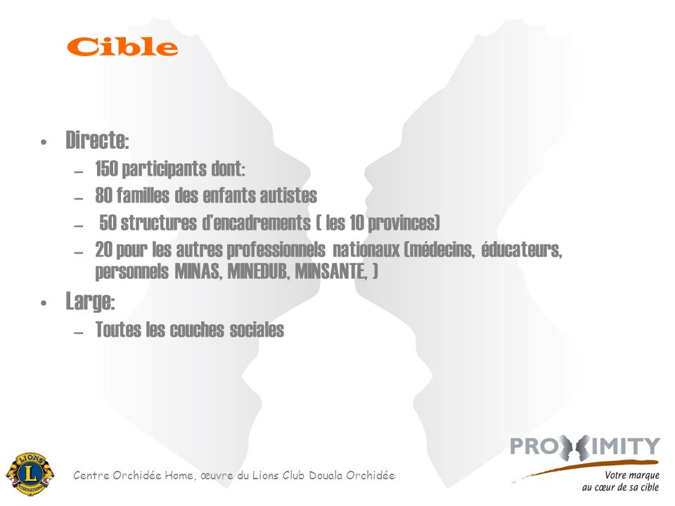 Cible Directe: Large: 150 participants dont: