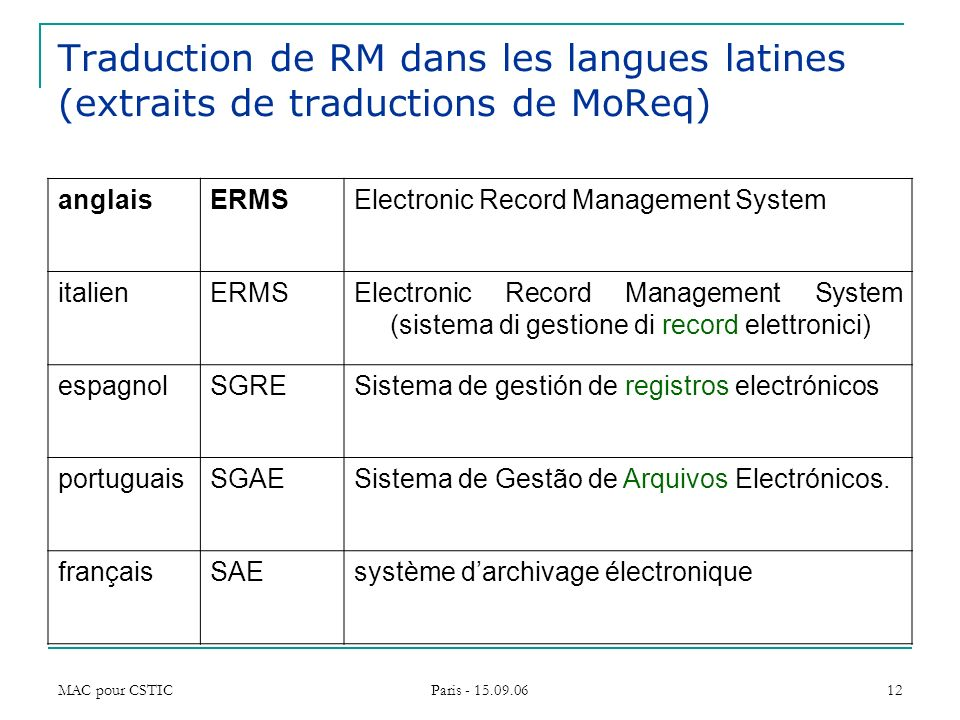 Traduction de RM dans les langues latines (extraits de traductions de MoReq)
