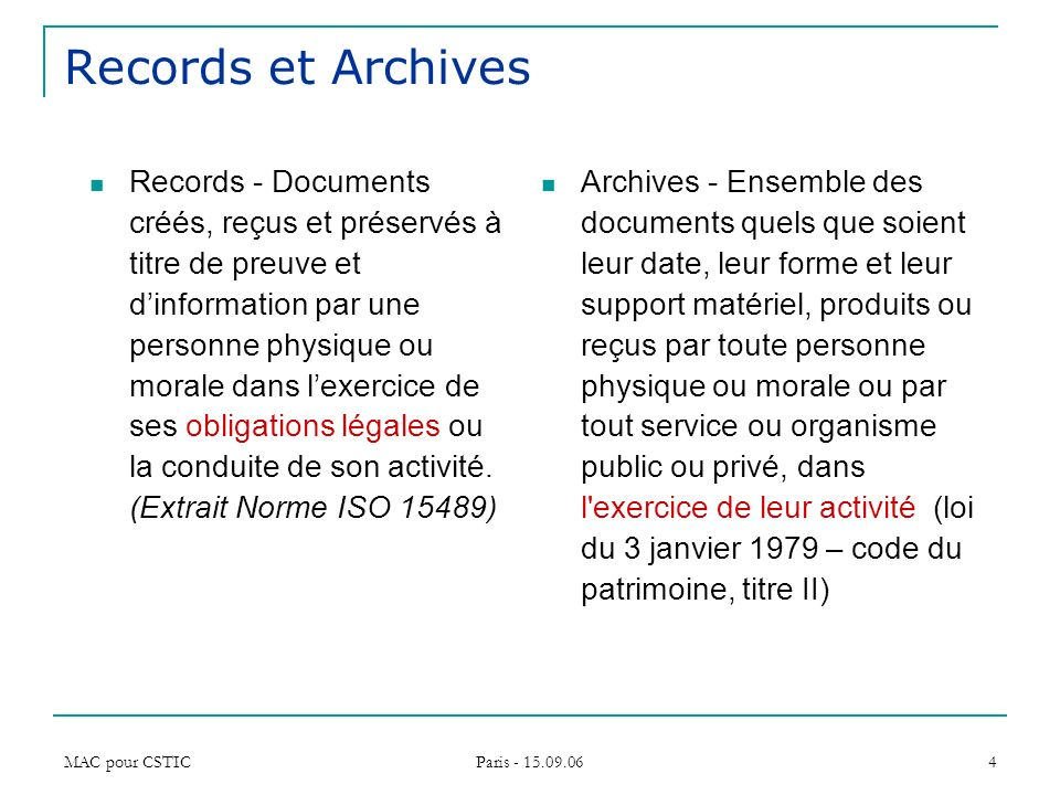 Records et Archives