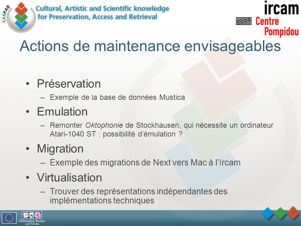 Actions de maintenance envisageables