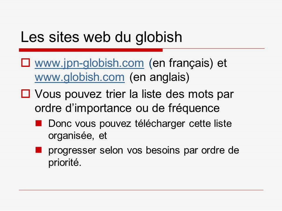 Les sites web du globish