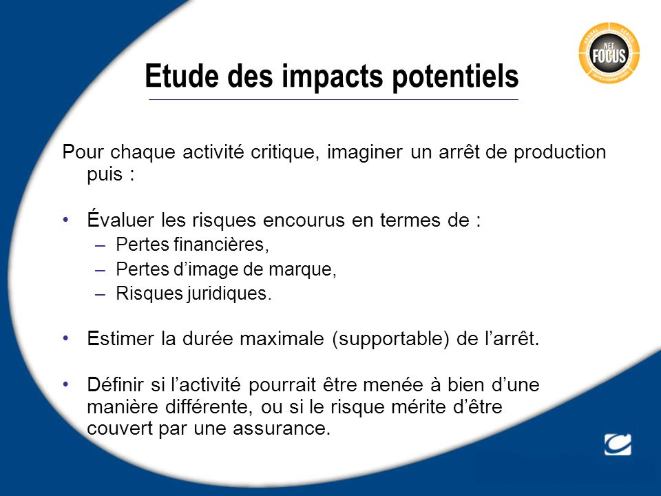 Etude des impacts potentiels