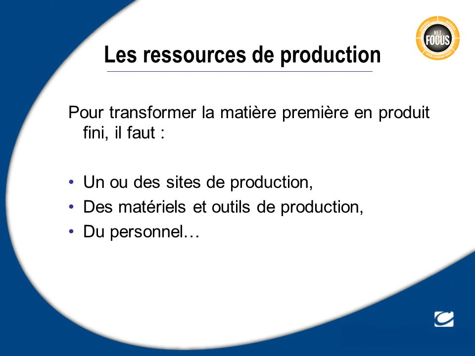 Les ressources de production