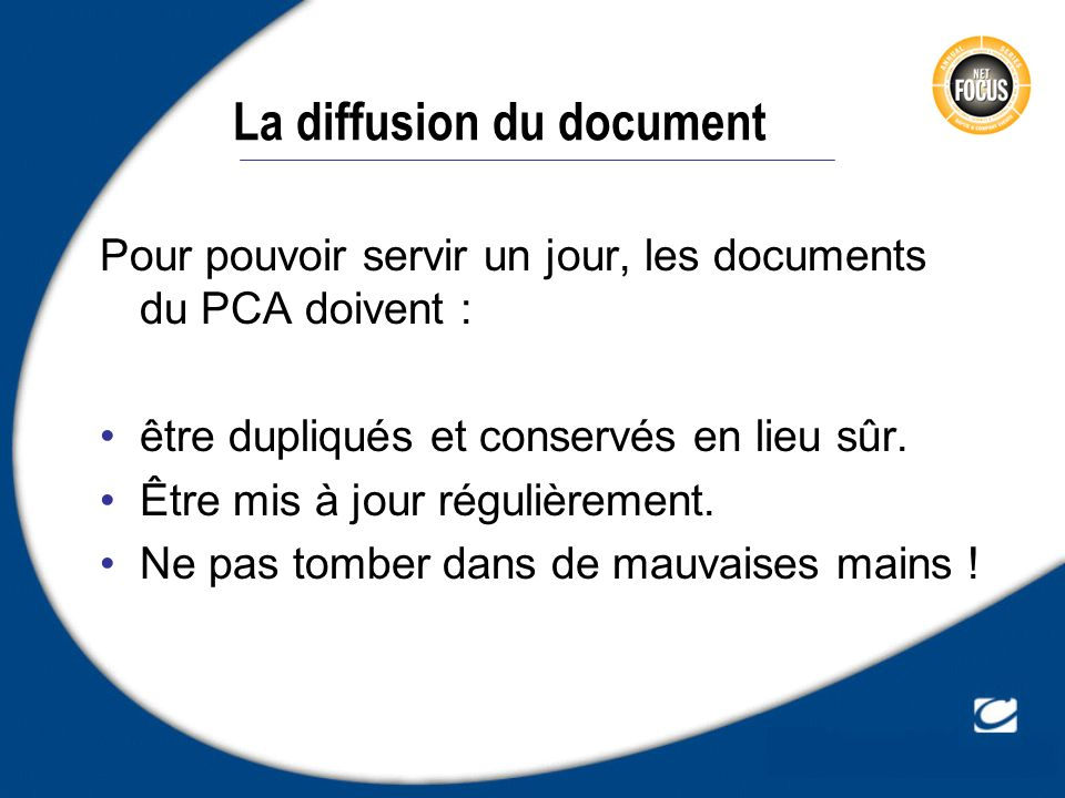 La diffusion du document