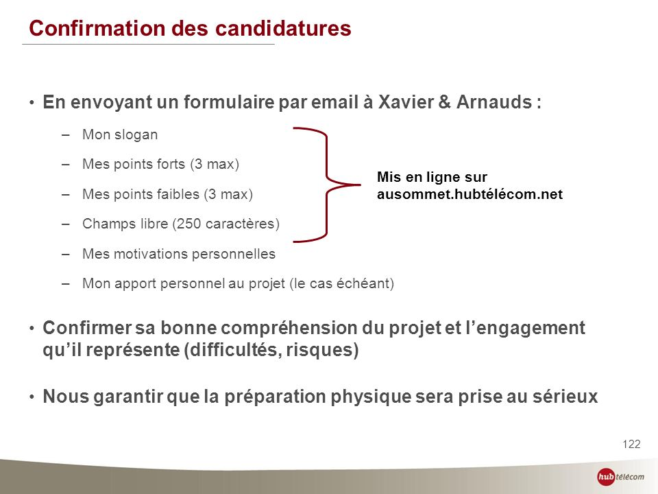 Confirmation des candidatures