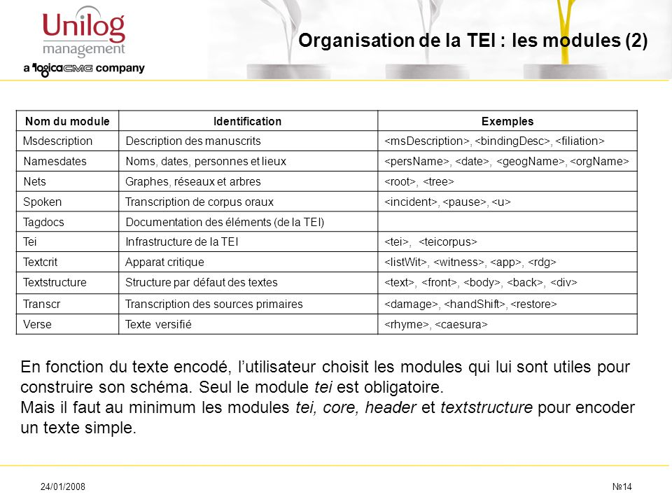Organisation de la TEI : les modules (2)