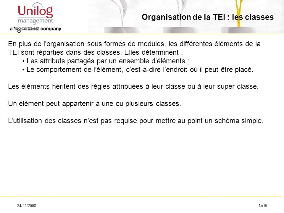 Organisation de la TEI : les classes