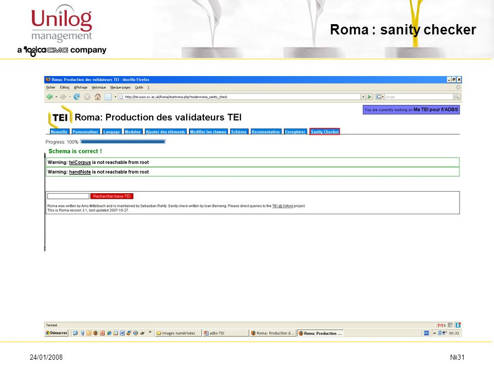Roma : sanity checker 24/01/2008